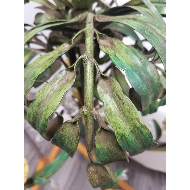 Vintage Pair of Hanging Colorful Leaf/Frond Lights - Flush Mount Ceiling For Sale - Image 10 of 13