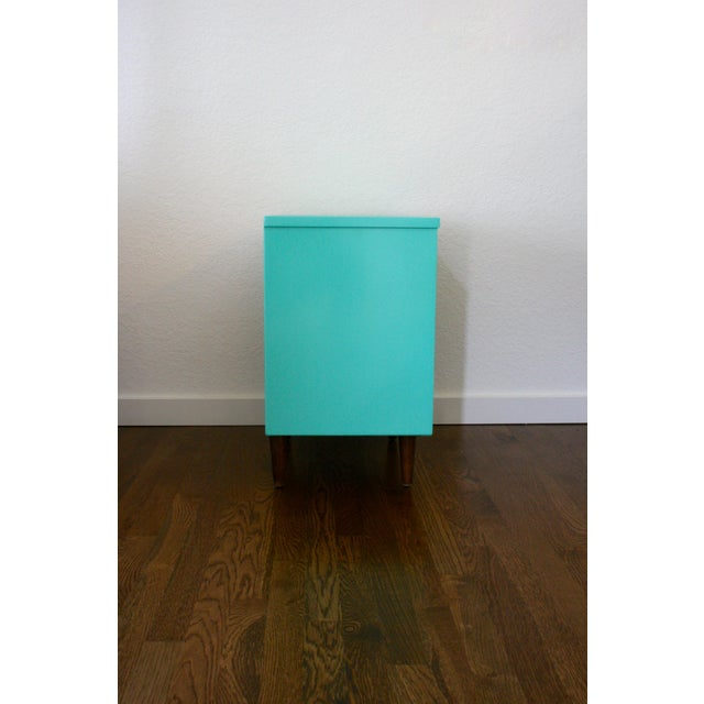 1960s 1960s Danish Modern Dixie Two-Tone Aqua Nightstand For Sale - Image 5 of 8