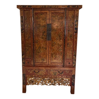 Antique Chinese Red & Gold Armoire Cabinet For Sale