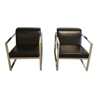 Leather and Chrome Mod Chairs - A Pair