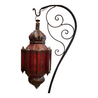 Moroccan Glass Lantern, Lg Makki Style, Red Glass For Sale