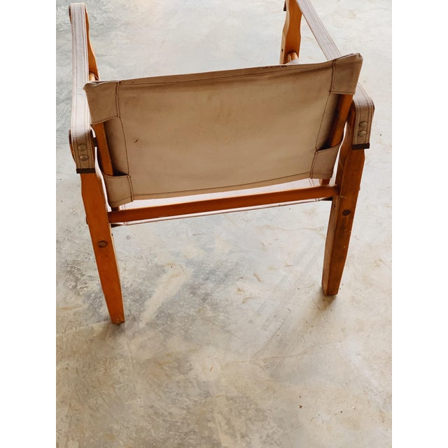 Danish Modern Canvas Safari Chair For Sale - Image 3 of 5