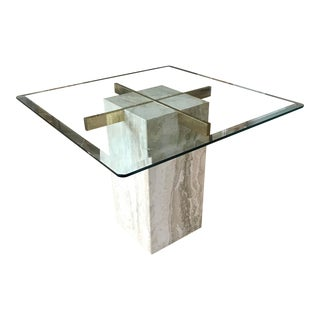 Vintage Side Table Travertine & Glass Pace Collection For Sale