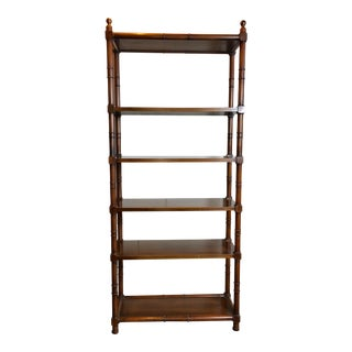 Faux Bamboo Etagere With Brass Finials For Sale