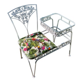 Retro Gossip Bench Russell Woodard Wrought Iron Oak Leaf & Acorn Outdoor Seat For Sale