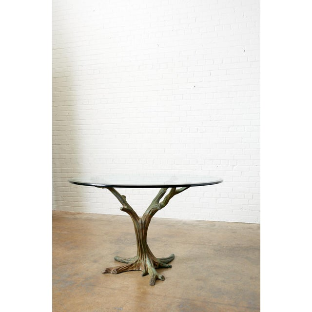 French French Bronze Faux Bois Tree Sculpture Dining Table For Sale - Image 3 of 13