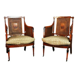Pair of English Adams Style Cane Back Paint Decorated Club Chairs For Sale