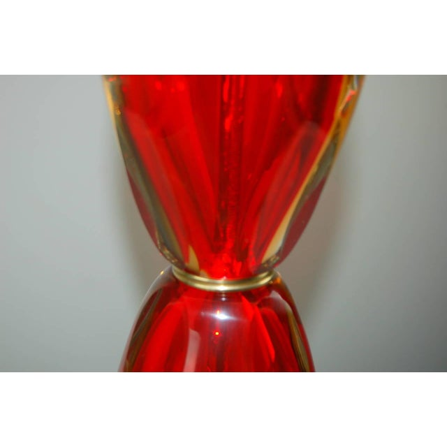 Vintage Murano Glass Table Lamps Sommerso Red For Sale In Little Rock - Image 6 of 10