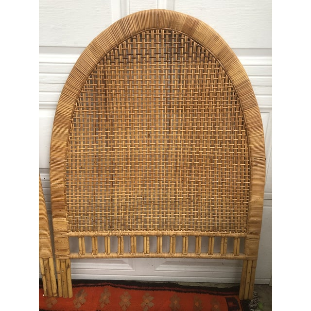 Vintage Mid-Century Arched Cane Bamboo Rattan Buri Twin Headboards - a Pair For Sale - Image 4 of 10