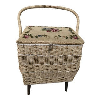 Vintage Needlepoint Lid Rattan Sewing Box