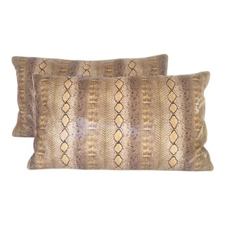 1970's Style Python Pattern Lumber Pillows - a Pair For Sale