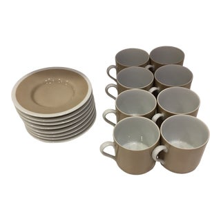 1970s Fitz & Floyd Rondelet Fawn Brown Flat Demitasse Cup & Saucer Set- 16 Pieces For Sale