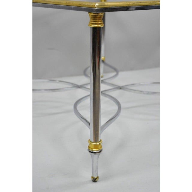 Maison Jansen Neoclassical Maison Jansen Style Chrome Steel and Brass Square Coffee Table Base For Sale - Image 4 of 11