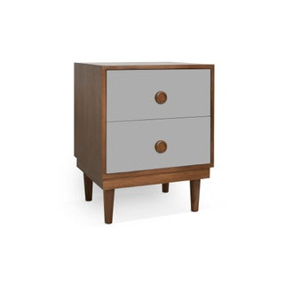 Lukka Modern Kids 2-Drawer Nightstand in Walnut With Gray Finish Preview