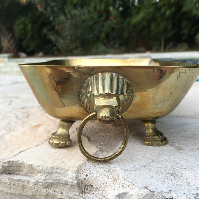 Mid-Century Brass Lions Head Handled Bowl For Sale - Image 4 of 11