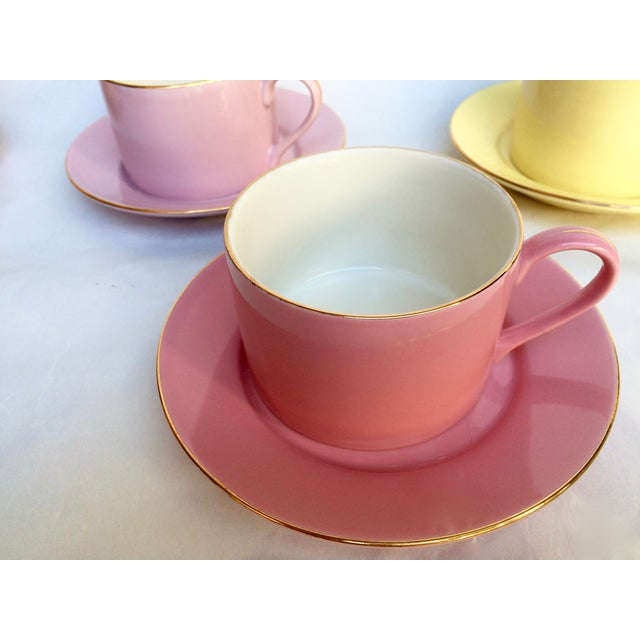 Sherbet-Hued Teacups & Saucers - Set of 6 - Image 6 of 10