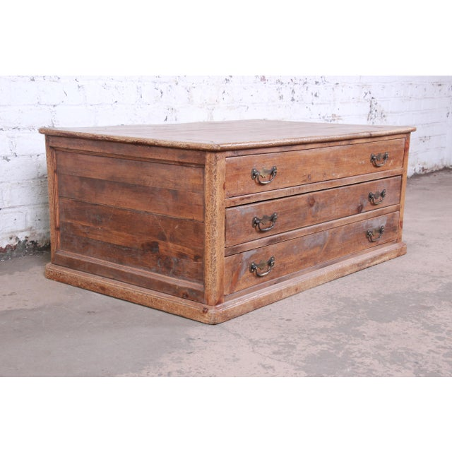 19th Century Country French Primitive Pine Double-Sided Map File Cabinet or Coffee Table For Sale - Image 4 of 13
