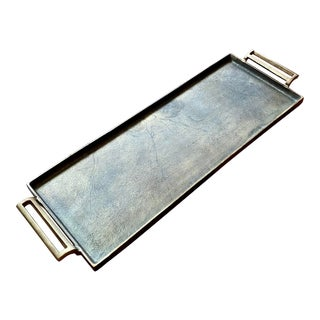 Pottery Barn Antiqued Gold Metal Tray For Sale