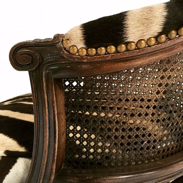 18th Century George Jacob Mahogany & Cane Swivel Bergere with Custom Zebra Cushion For Sale In Saint Louis - Image 6 of 7