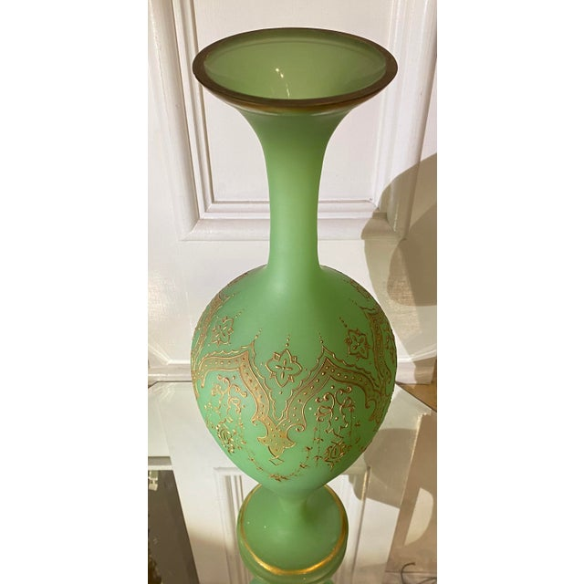 Massive Antique Baccarat French Opaline Glass Vase. Green Opaline Glass W Gold Decoration.