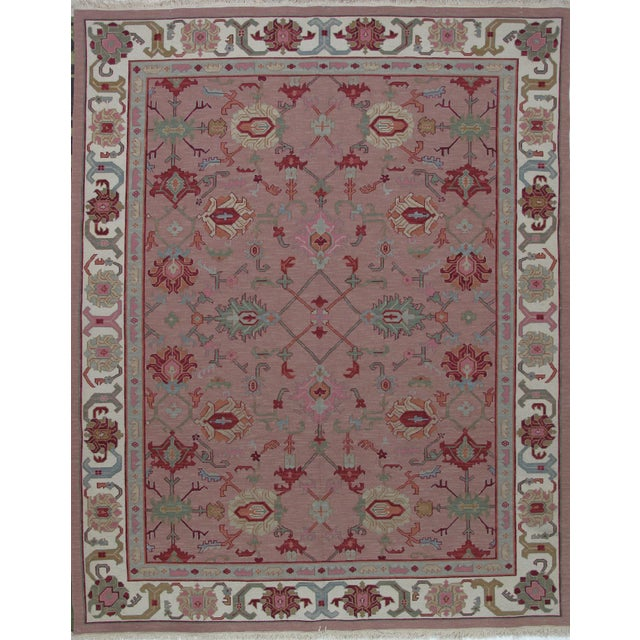 Soumak Design Hand Woven Wool Rug - 8' X 10' For Sale - Image 5 of 5