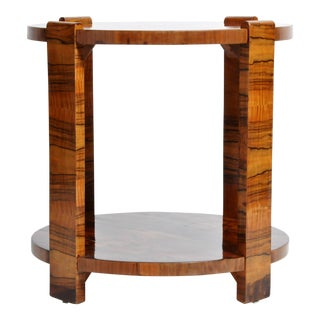 Hungarian Art Deco Walnut Veneer Side Table For Sale