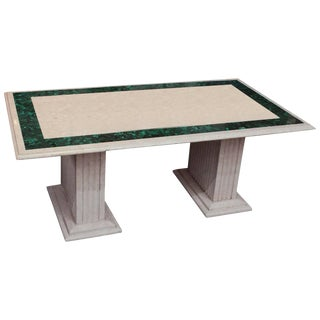Malachite Inlaid Marble Cocktail Table For Sale