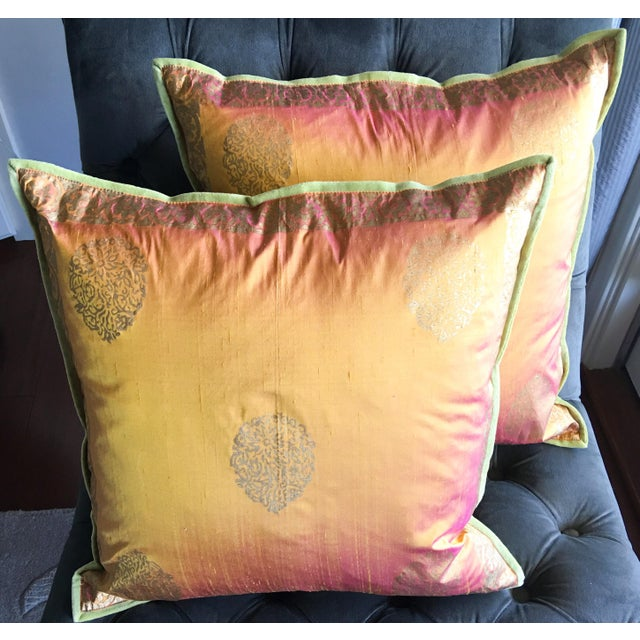 Copper & Gold Lamé Silk Pillow Covers - A Pair - Image 2 of 4