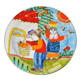 Italian Desimone Hand Painted Pottery Round Decor Plate Orange Picking Italy For Sale