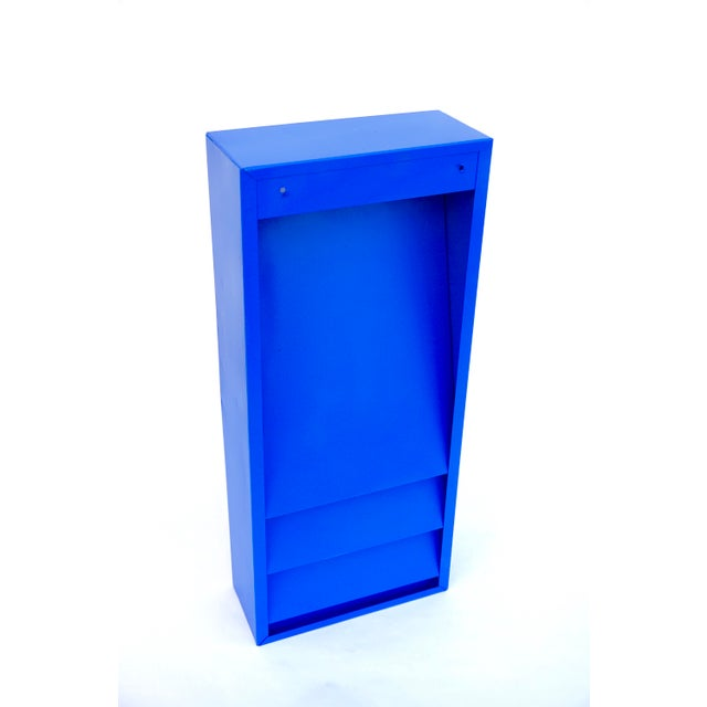 Blue Mid-Century Industrial Steelcase Electric Blue Wall Mount File Rack For Sale - Image 8 of 10
