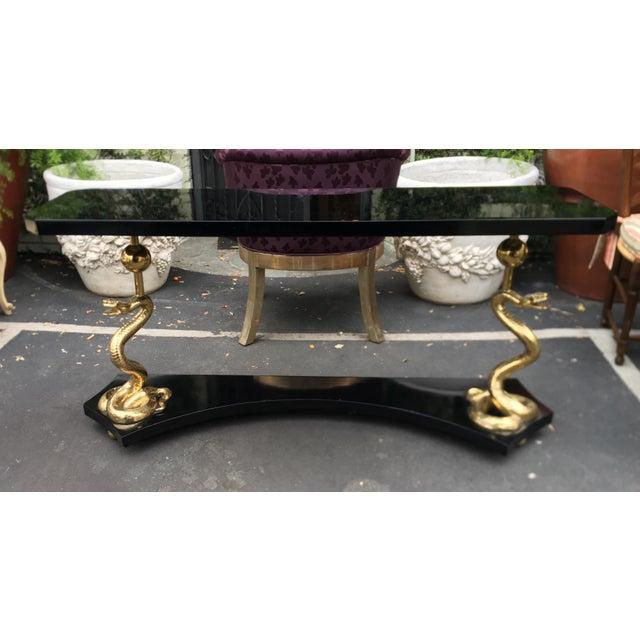 Elegant Designer Console Table With Bronze Cobra Base & Black Marble Top For Sale - Image 10 of 10