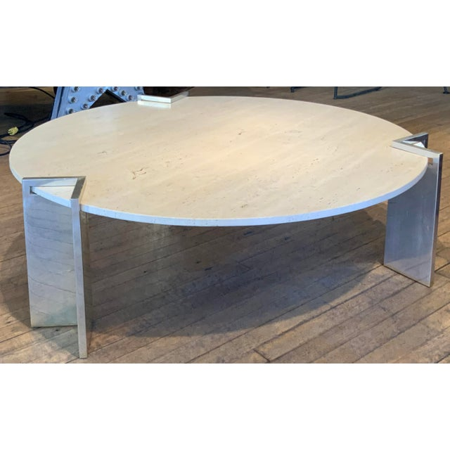 Beige 1970s Travertine and Steel Cocktail Table by Pace Collection For Sale - Image 8 of 8