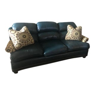 Hancock and Moore Leather Traditional Style Sofa With Pillows