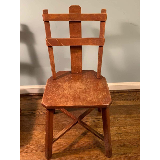 Wood Primitive Pair of Cherrywood Side Chairs in the Manner of Jean Touret For Sale - Image 7 of 11