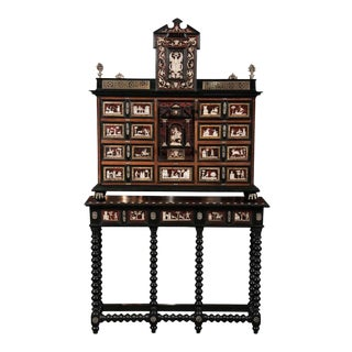 Spanish Tortoiseshell Cabinet on Stand For Sale
