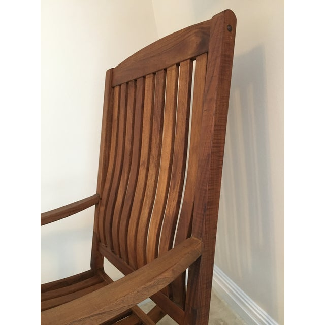 Brown 2000s Americana Cambridge Teak Rocking Chair For Sale - Image 8 of 13