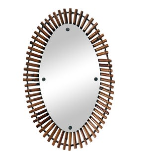 Mid Century Bamboo Framed Oval Mirror For Sale