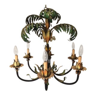 Vintage Painted Palm Frond 6-Light Chandelier