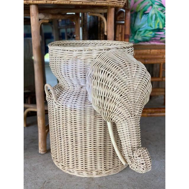 Vintage Coastal Wicker Elephant Basket For Sale - Image 12 of 13