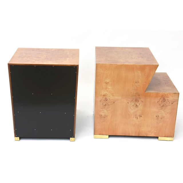 Modern Pair of Sir Edmund Spence Burled Maple Two-Drawer Night or End Tables For Sale - Image 3 of 10