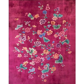 1930s Antique Chinese Art Deco Rug-9′ × 11′3″ For Sale