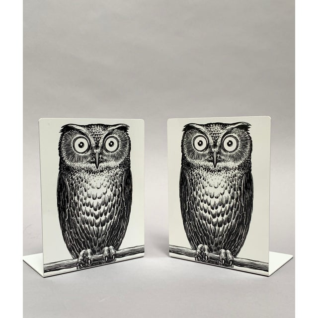 Illustration Fornasetti Owl Bookends - a Pair For Sale - Image 3 of 12