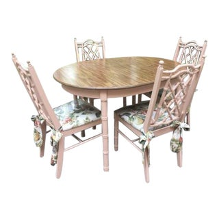 1960s Cottage Faux Bamboo Dining Set - 5 Pieces For Sale