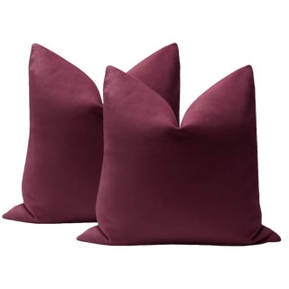 "22"" Aubergine Velvet Pillows - a Pair For Sale"