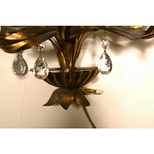 1950s French Gilt-Brass 3-Light Wall Sconces - A Pair For Sale - Image 5 of 8
