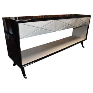 Hollywood Regency Style Parchment Credenza For Sale
