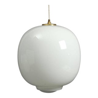 Vintage Opal Glass Hanging Lamp by Vilhelm Lauritzen for Louis Poulsen For Sale