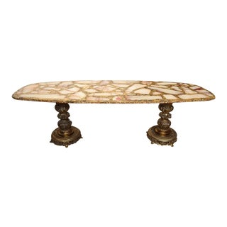 1960s Italian Onyx, Gold Leaf, and Brass Mosaic Italian Coffee Table For Sale