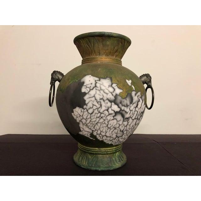 1980s Tony Evans Raku Large Vase With Metal Horse Handles For Sale - Image 5 of 13