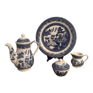 Vintage Churchill England Blue Willow Coffee Set For Sale